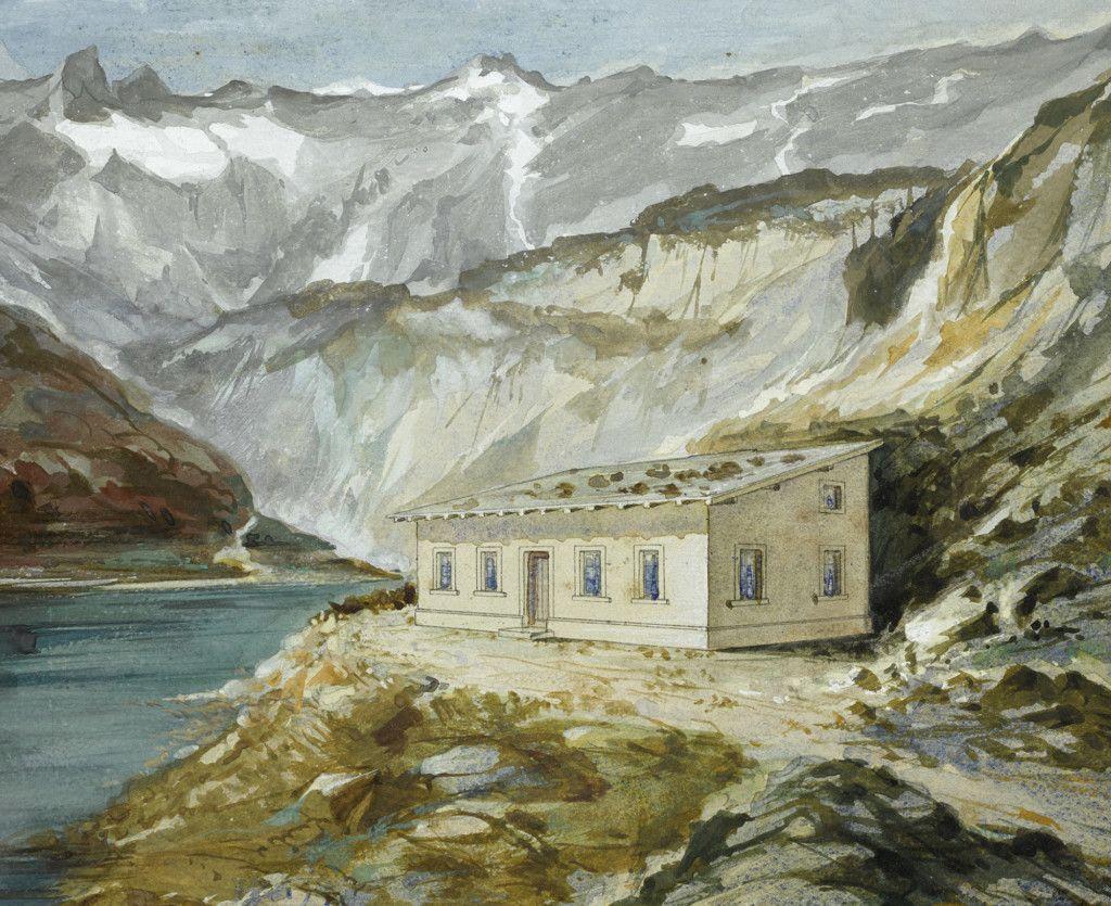 Einige der ersten Hütten des Alpenvereins, Teil einer Aquarellserie aus dem Alpenverein-Museum, die vor 1911 entstanden ist. Douglass Hütte Lünersee. (Bild: ÖAV/West. Fotostudio)