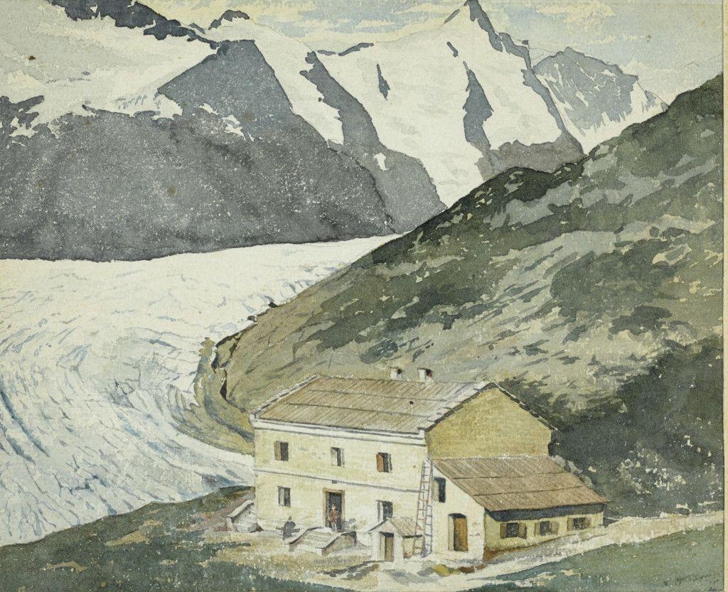 Einige der ersten Hütten des Alpenvereins, Teil einer Aquarellserie aus dem Alpenverein-Museum, die vor 1911 entstanden ist. Glocknerhaus Elisabeth Ruhe. (Bild: ÖAV/West. Fotostudio)