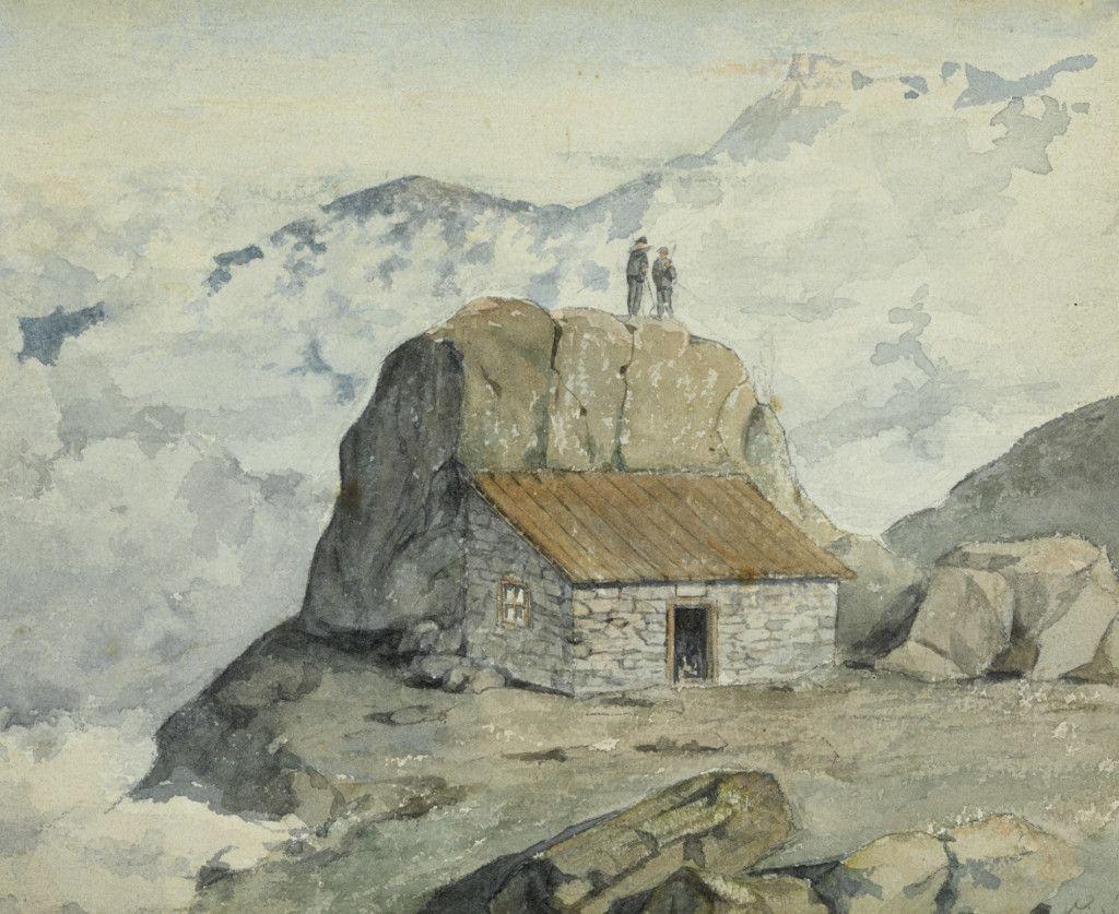 Einige der ersten Hütten des Alpenvereins, Teil einer Aquarellserie aus dem Alpenverein-Museum, die vor 1911 entstanden ist. Grobgestein Hütte Dachstein. (Bild: ÖAV/West. Fotostudio)