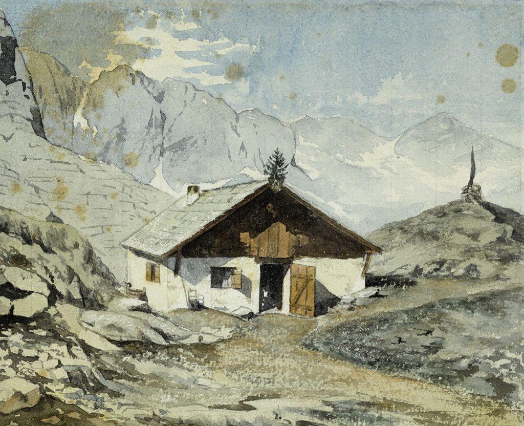 Einige der ersten Hütten des Alpenvereins, Teil einer Aquarellserie aus dem Alpenverein-Museum, die vor 1911 entstanden ist. Simony Hütte Dachstein. (Bild: ÖAV/West. Fotostudio)