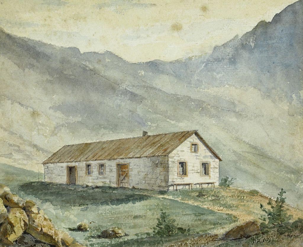 Einige der ersten Hütten des Alpenvereins, Teil einer Aquarellserie aus dem Alpenverein-Museum, die vor 1911 entstanden ist. Stuiben Hütte. (Bild: ÖAV/West. Fotostudio)