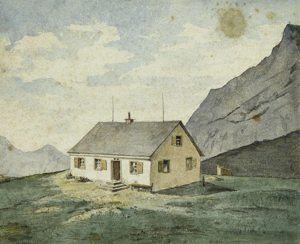 Einige der ersten Hütten des Alpenvereins, Teil einer Aquarellserie aus dem Alpenverein-Museum, die vor 1911 entstanden ist. Touristenhaus Frischen. (Bild: ÖAV/West. Fotostudio)