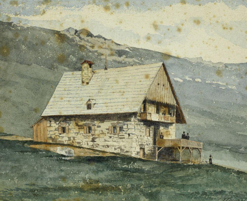 Einige der ersten Hütten des Alpenvereins, Teil einer Aquarellserie aus dem Alpenverein-Museum, die vor 1911 entstanden ist. Touristenhaus Koralpe. (Bild: ÖAV/West. Fotostudio)