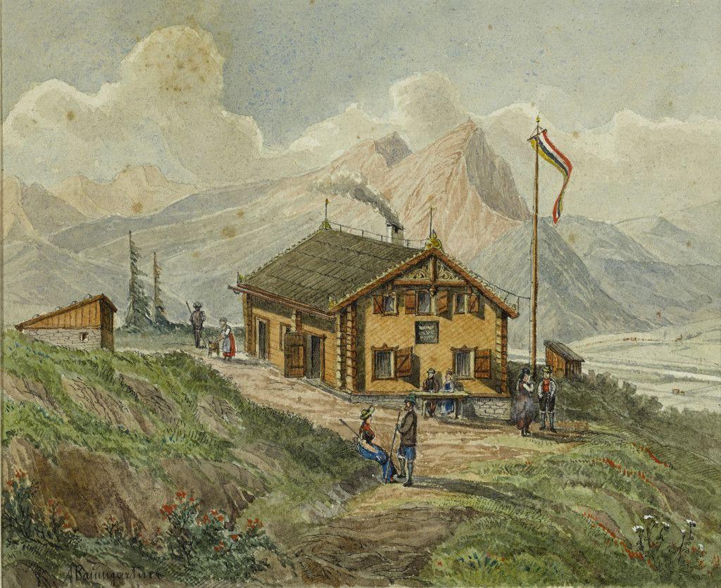 Einige der ersten Hütten des Alpenvereins, Teil einer Aquarellserie aus dem Alpenverein-Museum, die vor 1911 entstanden ist. Untersberghaus. (Bild: ÖAV/West. Fotostudio)
