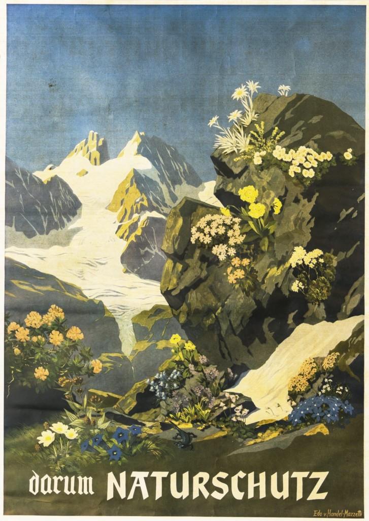 Darum Naturschutz. Plakat von Eduard Handel-Mazzetti aus dem Gastraum der Hochlandhütte im Karwendel. Die Sektion Hochland setzte sich maßgeblich für den Ödlandschutz ein. (Bild: DAV/Bettina Warnecke)